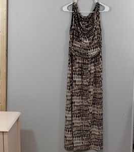 Vince Camuto Animal Print Cowl Neck Maxi size M